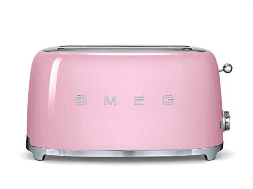 SMEG Tostador TSF02PKEU, 1500 W, Acero Inoxidable, 4 Ranuras, rosa pastel