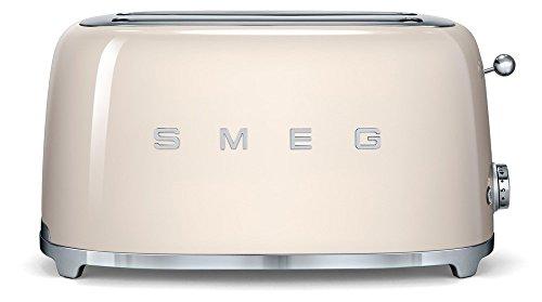 SMEG Tostador TSF02CREU, 1500 W, Acero Inoxidable, 2 Ranuras, Crema 22x39x21cm