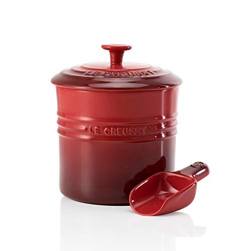 Le Creuset, Recipiente para pienso con Pala dosificadora, 12,6 x 19 cm, 1.9 l, Apto para lavavajillas, Rojo Cereza