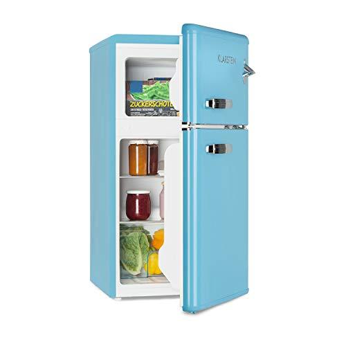 Klarstein Irene - Nevera combi, Nevera retro, Nevera de 61 litros, Congelador de 24 litros, Emisión de 40 dB, 2 baldas, 2 compartimentos en la puerta, Para familias pequeñas y solteros, Azul