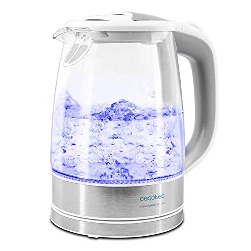 Cecotec Hervidor de Agua Eléctrico ThermoSense 350 Clear. 1,7 litros, Libre de BPA, 2200 W de Potencia, Base 360º, Filtro Antical, Doble Sistema de Seguridad, Vidrio Borosilicato