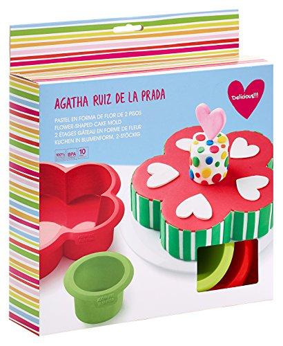 Lékué Molde Flor con 2 Pisos, Silicona, Multicolor, 25 cm, 2 Unidades
