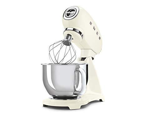 Smeg Robot De Cocina SMF03CREU Crema 10 Velocidades, 800 W, Acero Inoxidable
