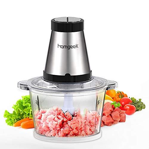 homgeek Picadora de Acero Inoxidable 500W, 2L Procesador de Alimentos de Gran Capacidad, Trituradora de Alimentos de Cocina 4 Cuchillas, Sin BPA [Clase de eficiencia energética A+++]